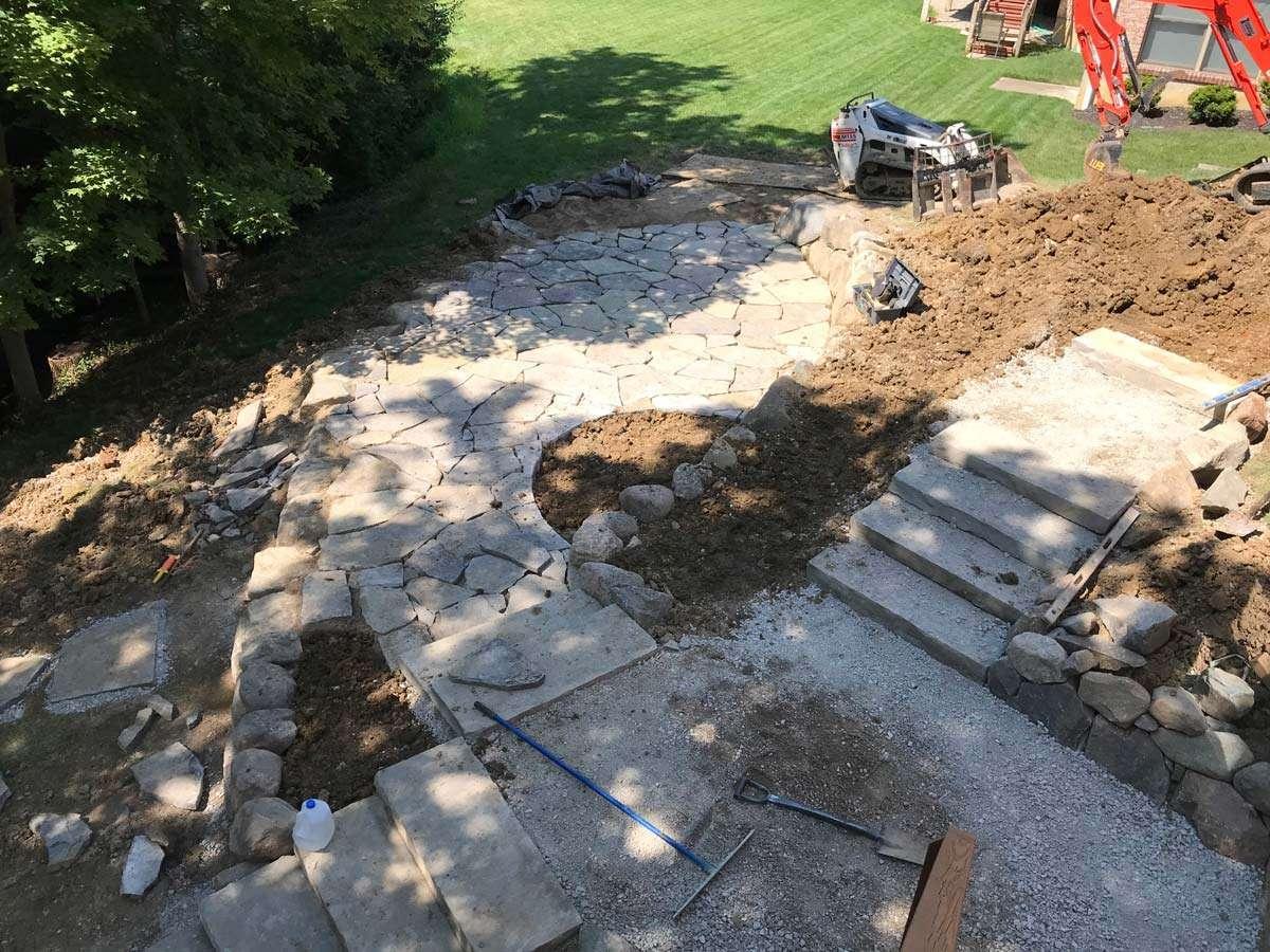 Landscape construction in Loveland, OH neighborhood