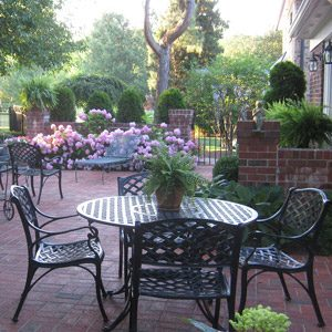 Brick Patio with flowers